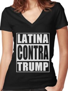 Latina Contra Trump Women's Fitted V-Neck T-Shirt