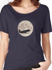 Moon and airplane Women's Relaxed Fit T-Shirt
