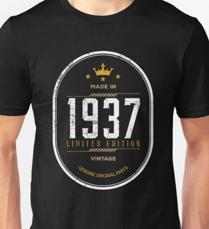 Made In 1937 Birthday Gift Idea Unisex T-Shirt