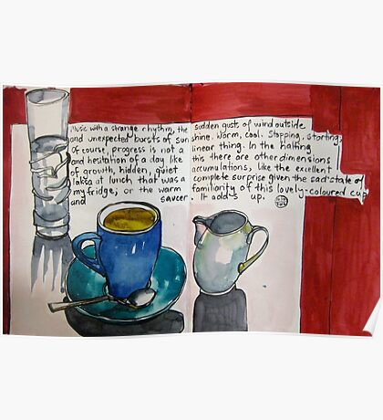 Blue cup green saucer Poster