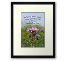 Holding to Truth in Love, Grow Up into Him ~ Eph 4:15 Framed Print