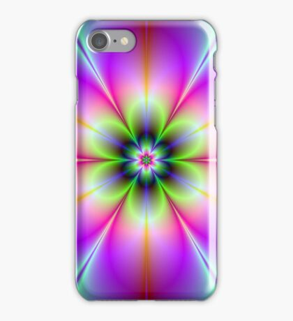 Neon Flower in Green and Pink iPhone Case/Skin