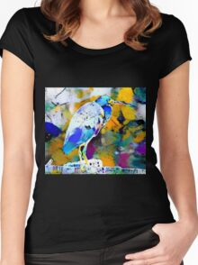 Great Blue Heron Abstract Women's Fitted Scoop T-Shirt