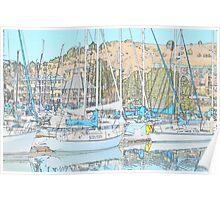 Sail Boats Reflections Poster