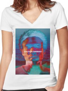 Childish Gambino - Portrait Edit Women's Fitted V-Neck T-Shirt