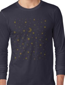 Sparkly stars, moon on blue sky Long Sleeve T-Shirt
