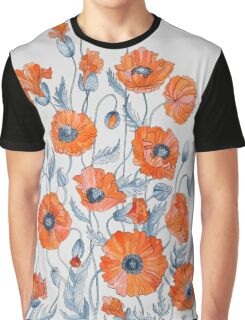 Poppies floral light grey Graphic T-Shirt
