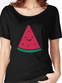 Big Happy Face Watermelon Fruit  Women's Relaxed Fit T-Shirt