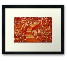 Path in brown and orange 3d landscape Framed Print
