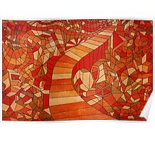 Path in brown and orange 3d landscape Poster