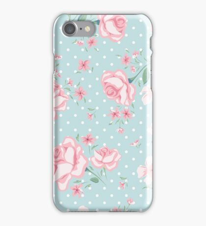 shabby chic,vintage,floral,flowers,roses,polka dots, pale pink, mint,white,elegant,chic,country chic,girly,modern,trendy iPhone Case/Skin