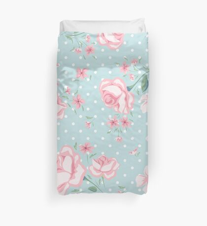shabby chic,vintage,floral,flowers,roses,polka dots, pale pink, mint,white,elegant,chic,country chic,girly,modern,trendy Duvet Cover