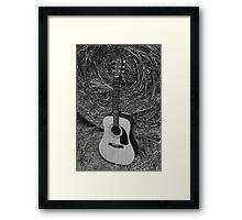Guitar - black and white Framed Print