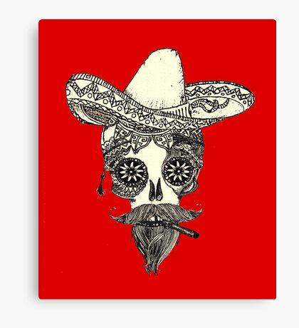 Exclusive handmade mexican red skull  Canvas Print