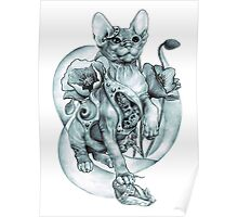steampunk tattoo cat kitten biomechanics mechanics vintage Poster