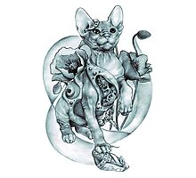 RISHAMA steampunk tattoo cat kitten biomechanics mechanics vintage Photographic Print