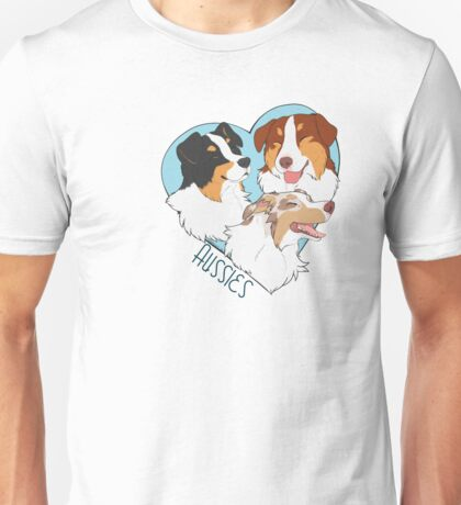 -Heart- Aussies (Tris and Red merle) Unisex T-Shirt