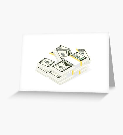 Stack of Cash. Hundreds of dollars. Greeting Card