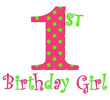 1st Birthday Girl Pink and Green Polka Dot by BeachBumFamily