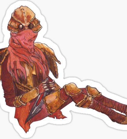 Dunmer in chitin armor - on black Sticker