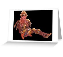 Dunmer in chitin armor - on black Greeting Card