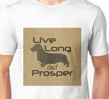 Live Long and Prosper Dachshund, Wire, Wirehair, Coat, Hair, Trekkie, Star Trek, Dog, Silhouette  Unisex T-Shirt