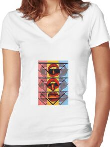 three's a crowd Women's Fitted V-Neck T-Shirt
