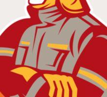 Fireman Firefighter Standing Folding Arms Circle Sticker