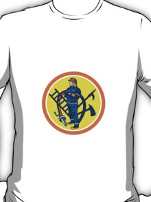 Fireman Firefighter Fire Hose Ladder Circle T-Shirt