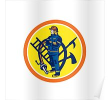 Fireman Firefighter Fire Hose Ladder Circle Poster