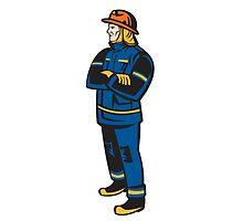 Fireman Firefighter Folding Arms Retro by patrimonio