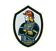 Fireman Firefighter Arms Folded Shield Retro by patrimonio
