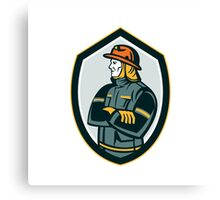 Fireman Firefighter Arms Folded Shield Retro Canvas Print