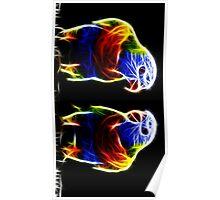 Neon parakeet pair Poster