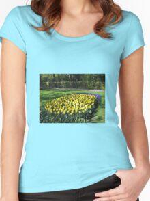 Bed of Yellow Tulips in the Keukenhof Gardens Women's Fitted Scoop T-Shirt