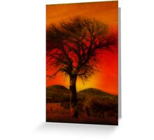 Oil Pastel Tree in Sunset (28,387) Greeting Card
