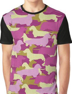 Distressed Camo Dachshund Silhouettes - Smooth, Wire, Long, Hair, Coat, Longhair, Wirehair Graphic T-Shirt