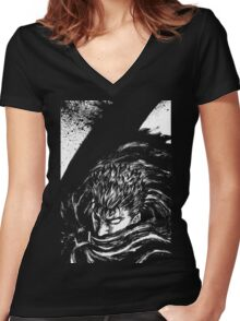 Black Swordsman Women's Fitted V-Neck T-Shirt