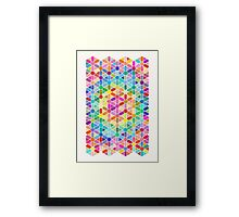 Rainbow Honeycomb with Stars Framed Print