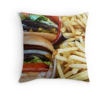 All American Cheeseburgers And Fries Throw Pillow