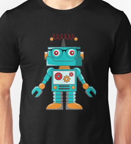 Cute Hipster Robot with Glasses Kids  Unisex T-Shirt
