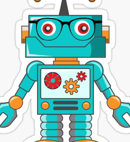 Cute Hipster Robot with Glasses Kids  Sticker