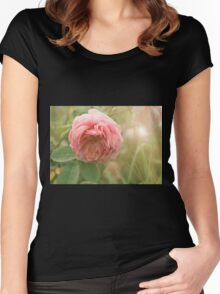 Close up photo of a pink rose Women's Fitted Scoop T-Shirt