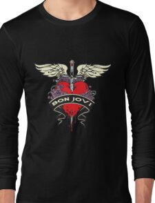 NICE!! BON JOVI RED HEART Long Sleeve T-Shirt