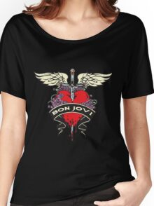 NICE!! BON JOVI RED HEART Women's Relaxed Fit T-Shirt
