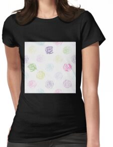 Black and white pattern in roses with contours.  Womens Fitted T-Shirt