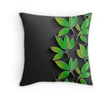Black background with green abstract leaves Throw Pillow