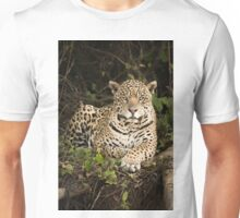 Jaguar lying by log in dense forest Unisex T-Shirt