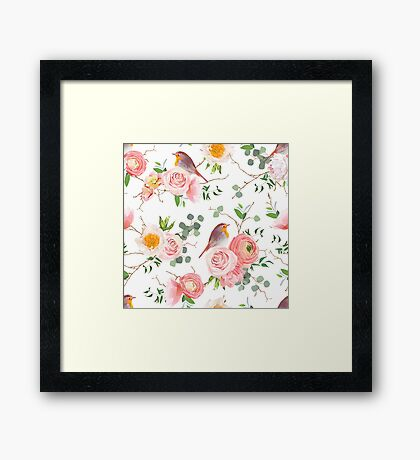 Natural vector seamless floral pattern with cute robin birds Framed Print
