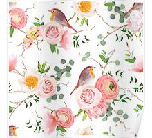 Natural vector seamless floral pattern with cute robin birds Poster